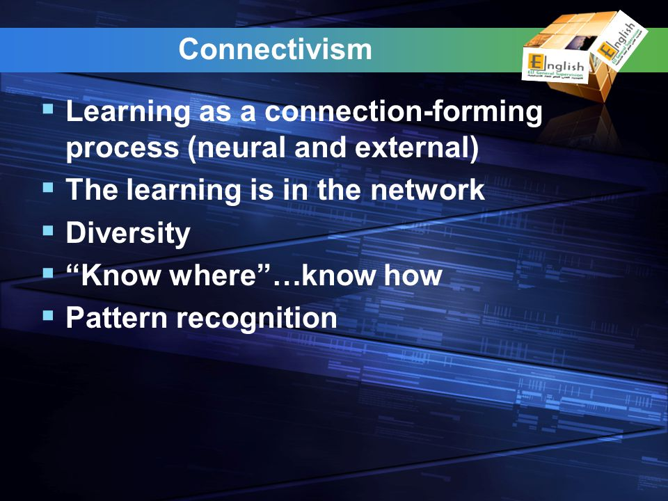 Connectivism Learning as a connection-forming process (neural and external) The learning is in the network Diversity Know where…know how Pattern recognition