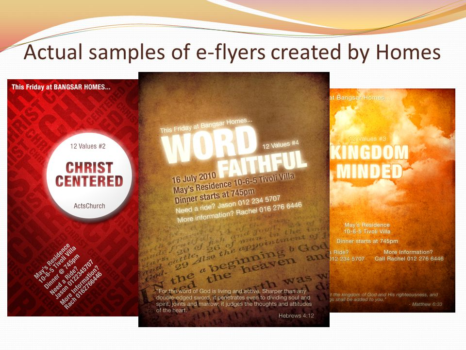 Actual samples of e-flyers created by Homes