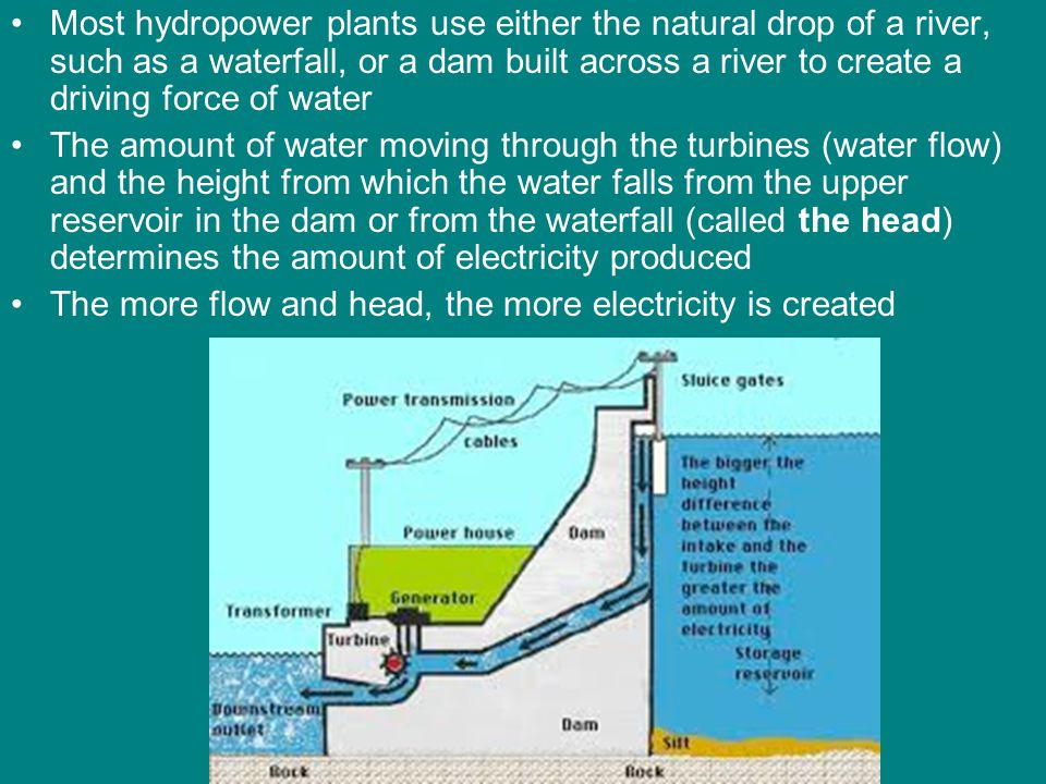 Most hydropower plants use either the natural drop of a river, such as a waterfall, or a dam built across a river to create a driving force of water T