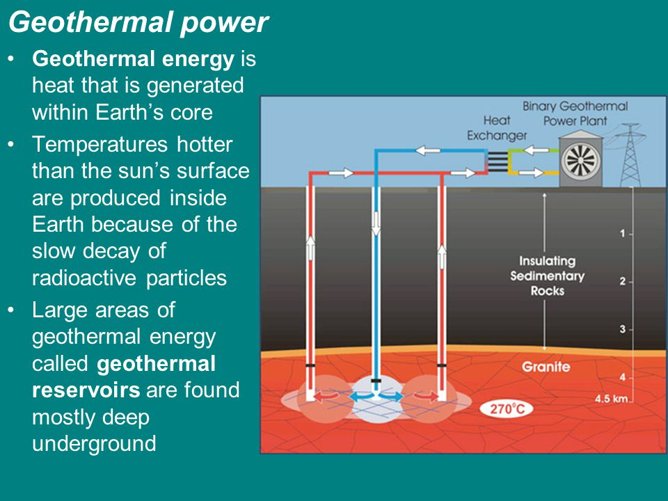 Geothermal power Geothermal energy is heat that is generated within Earths core Temperatures hotter than the suns surface are produced inside Earth be