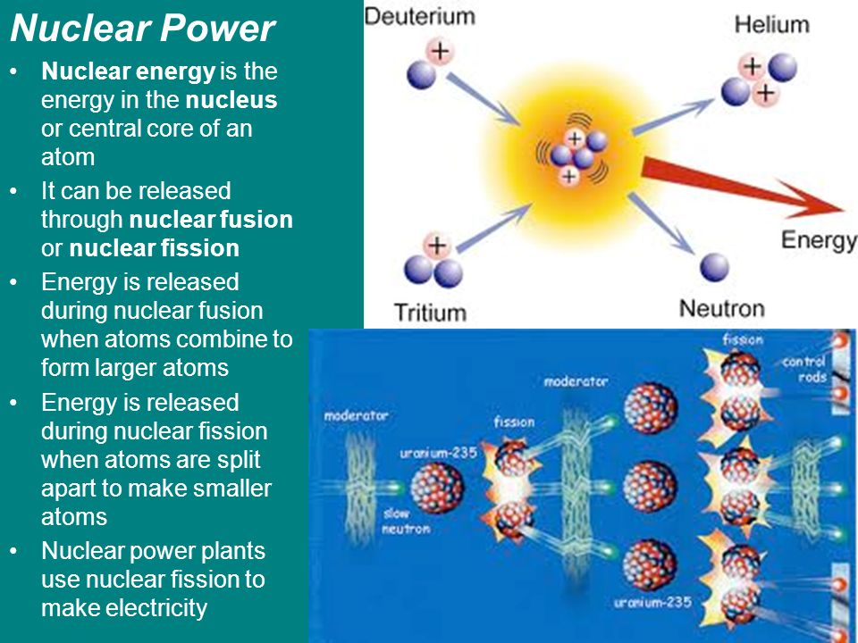 Nuclear Power Nuclear energy is the energy in the nucleus or central core of an atom It can be released through nuclear fusion or nuclear fission Ener