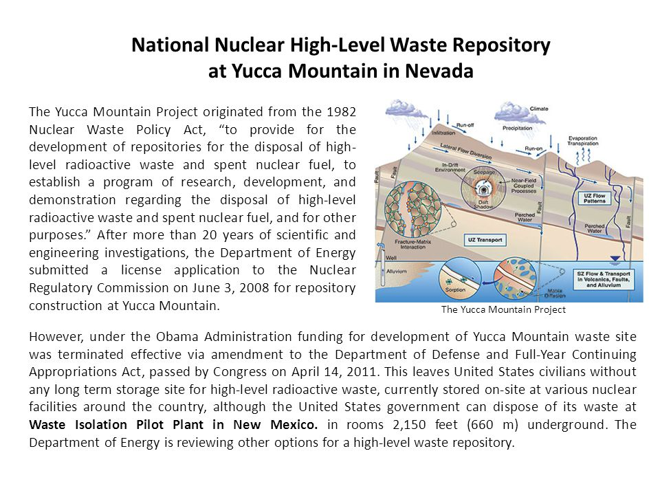 National Nuclear High-Level Waste Repository at Yucca Mountain in Nevada The Yucca Mountain Project originated from the 1982 Nuclear Waste Policy Act,
