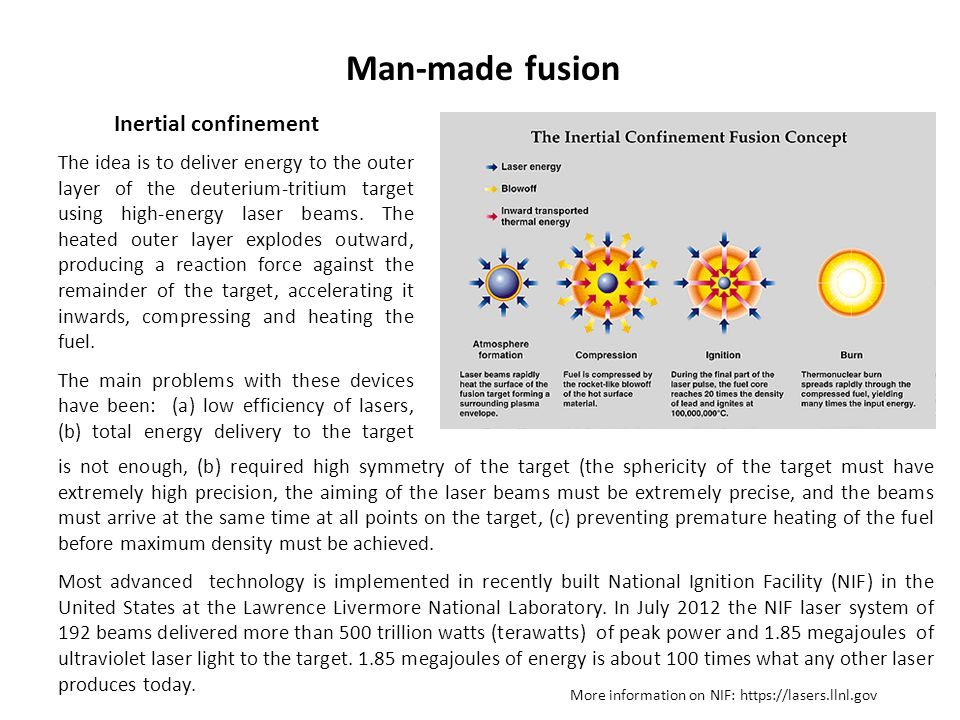 Man-made fusion Inertial confinement The idea is to deliver energy to the outer layer of the deuterium-tritium target using high-energy laser beams. T