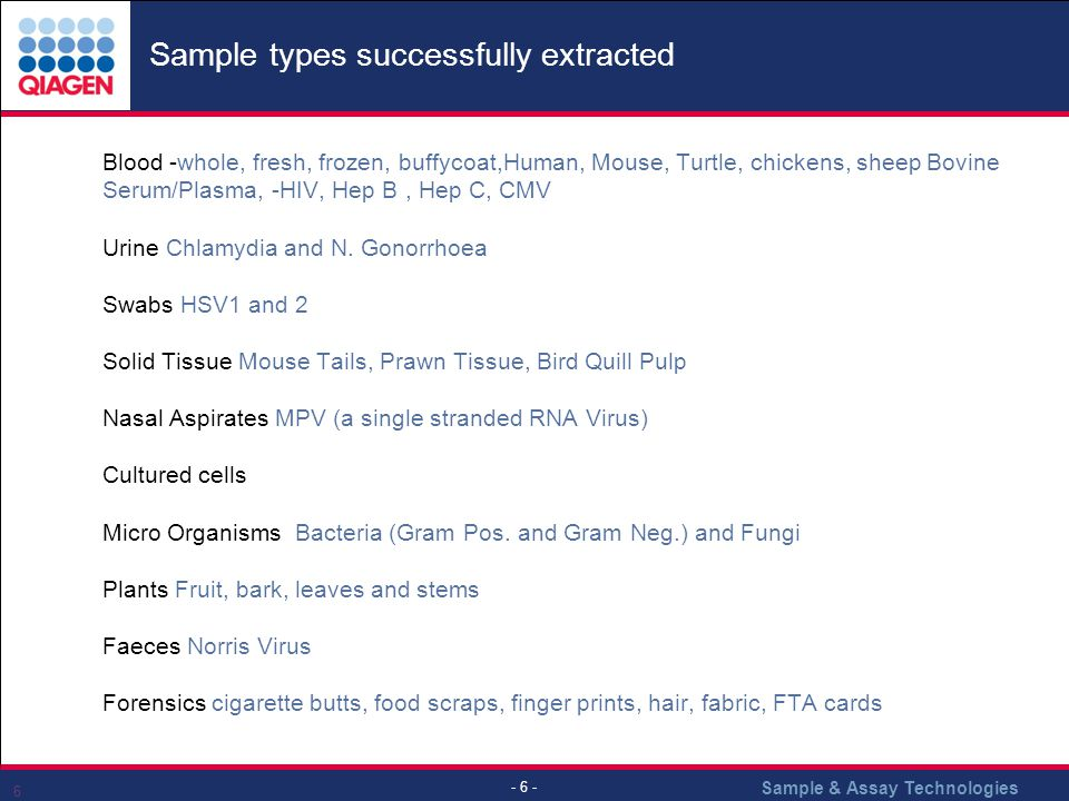Sample & Assay Technologies - 6 - 6 Sample types successfully extracted ̣ Blood -whole, fresh, frozen, buffycoat,Human, Mouse, Turtle, chickens, sheep