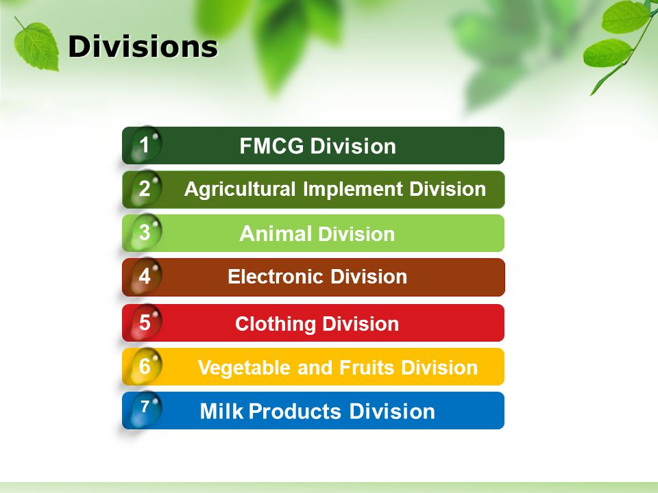 Divisions FMCG Division 1 Agricultural Implement Division 2 Animal Division 3 Electronic Division 4 Clothing Division 5 Vegetable and Fruits Division 6 Milk Products Division 7