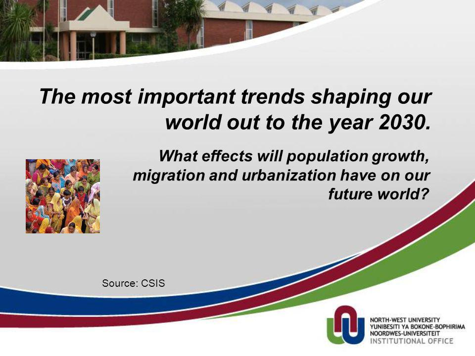 The most important trends shaping our world out to the year 2030. Source: CSIS What effects will population growth, migration and urbanization have on