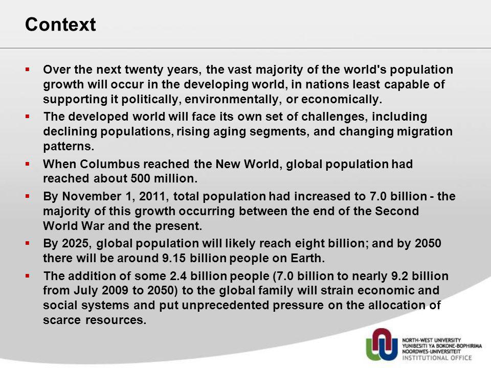 Context Over the next twenty years, the vast majority of the world's population growth will occur in the developing world, in nations least capable of