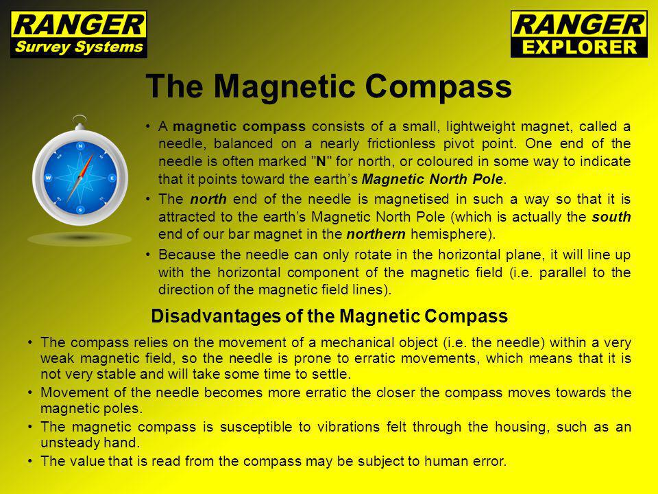 The Magnetic Compass A magnetic compass consists of a small, lightweight magnet, called a needle, balanced on a nearly frictionless pivot point. One e