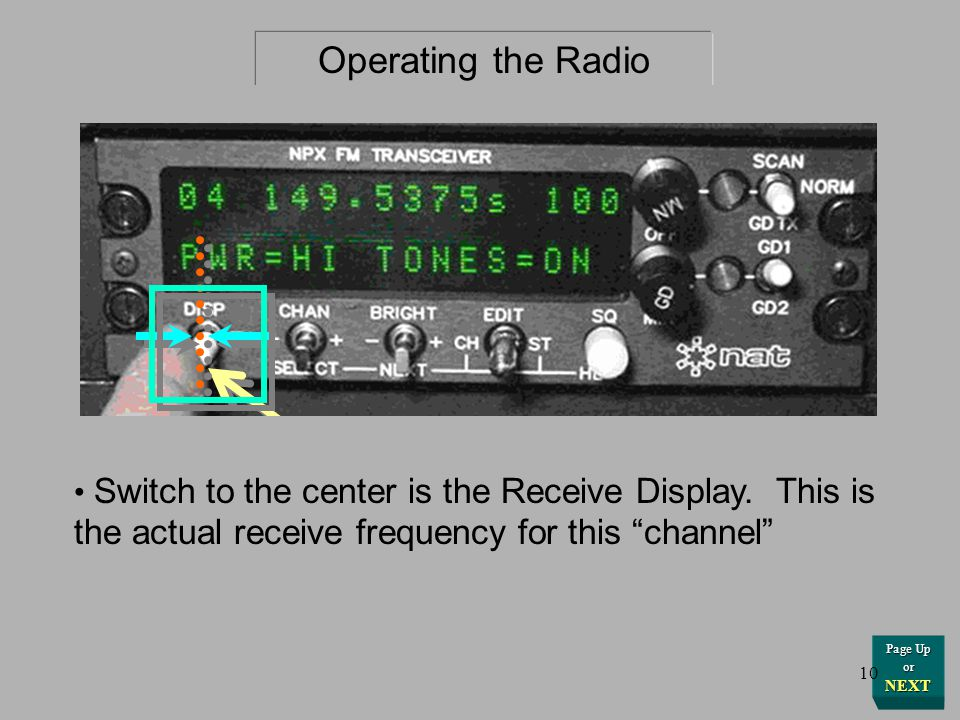 ……....Or this Frequency readout. Operating the Radio Page Up or NEXT 9