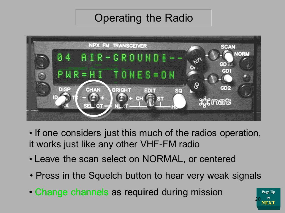 Press in the Squelch button to hear very weak signals If one considers just this much of the radios operation, it works just like any other VHF-FM rad