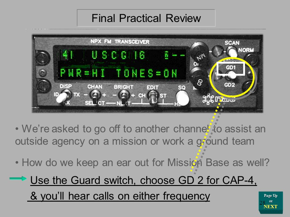 NEXT for Answer Final Practical Review Toggle the switch labeled DISP, for Display - You can display the Channel by Frequency or by its name or common