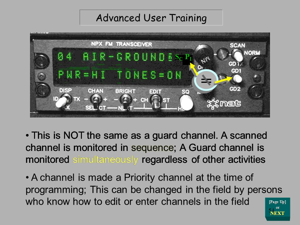 Advanced User Training In addition to being on the normal Scan list, certain channels can be designated as Priority channels S C P I [Page Up] or NEXT