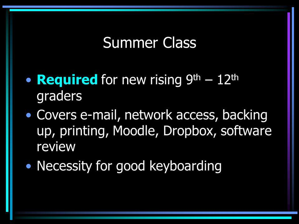 Summer Class Required for new rising 9 th – 12 th graders Covers e-mail, network access, backing up, printing, Moodle, Dropbox, software review Necessity for good keyboarding
