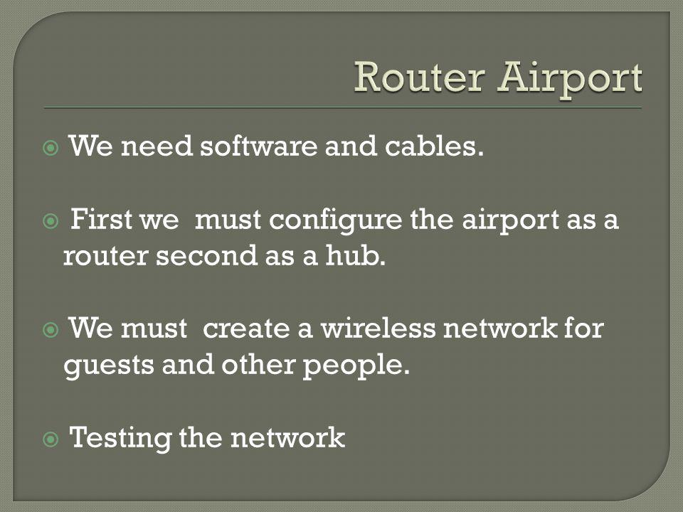 We need software and cables. First we must configure the airport as a router second as a hub.