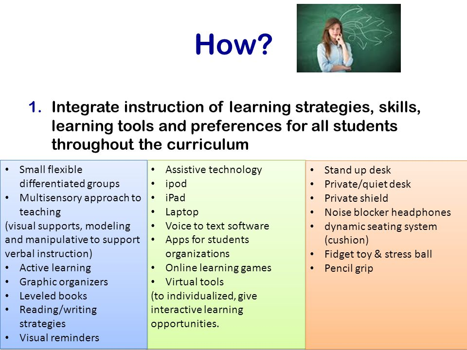 How? 1.Integrate instruction of learning strategies, skills, learning tools and preferences for all students throughout the curriculum Assistive techn