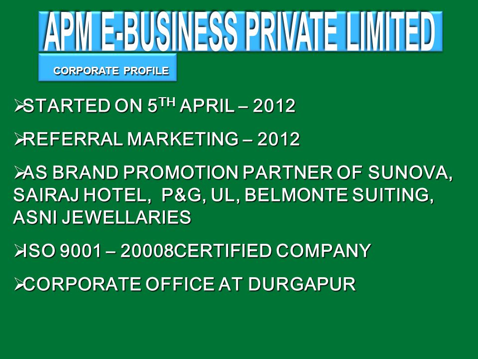 COMPANY COMPANY APM E-BUSINESS PRIVATE LIMITED