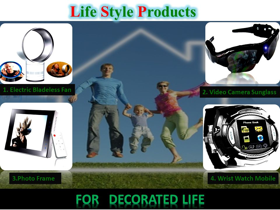1. Electric Bladeless Fan 2. Video Camera Sunglass 3.Photo Frame4. Wrist Watch Mobile