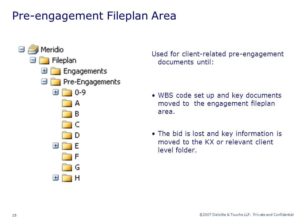 ©2007 Deloitte & Touche LLP. Private and Confidential 15 Pre-engagement Fileplan Area Used for client-related pre-engagement documents until: WBS code