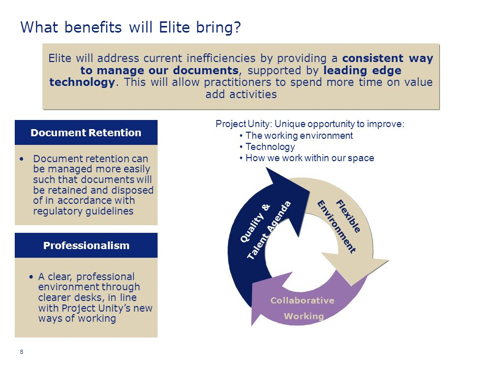 8 What benefits will Elite bring? Elite will address current inefficiencies by providing a consistent way to manage our documents, supported by leadin