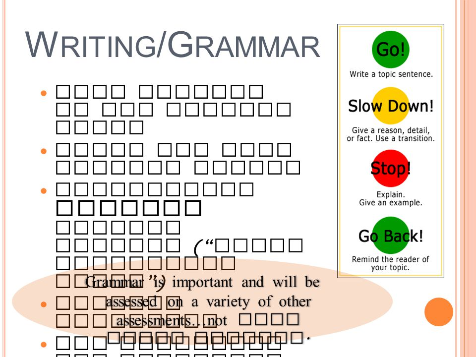 W RITING /G RAMMAR More writing in all content areas Short and long writing pieces Reinforcing grammar through writing ( Focus Correction Areas ) Writing notebooks New materials and resources