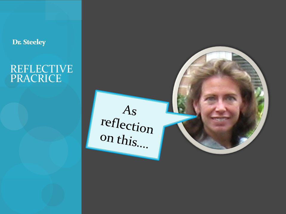 REFLECTIVE PRACRICE Dr. Steeley As reflection on this….
