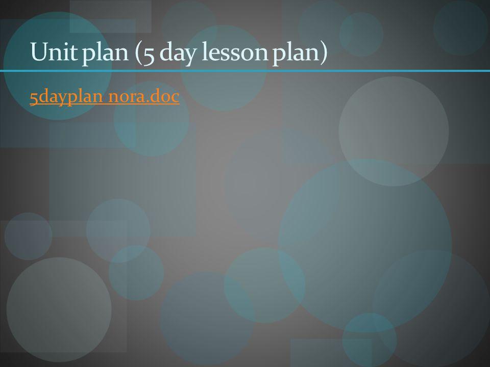 Unit plan (5 day lesson plan) 5dayplan nora.doc