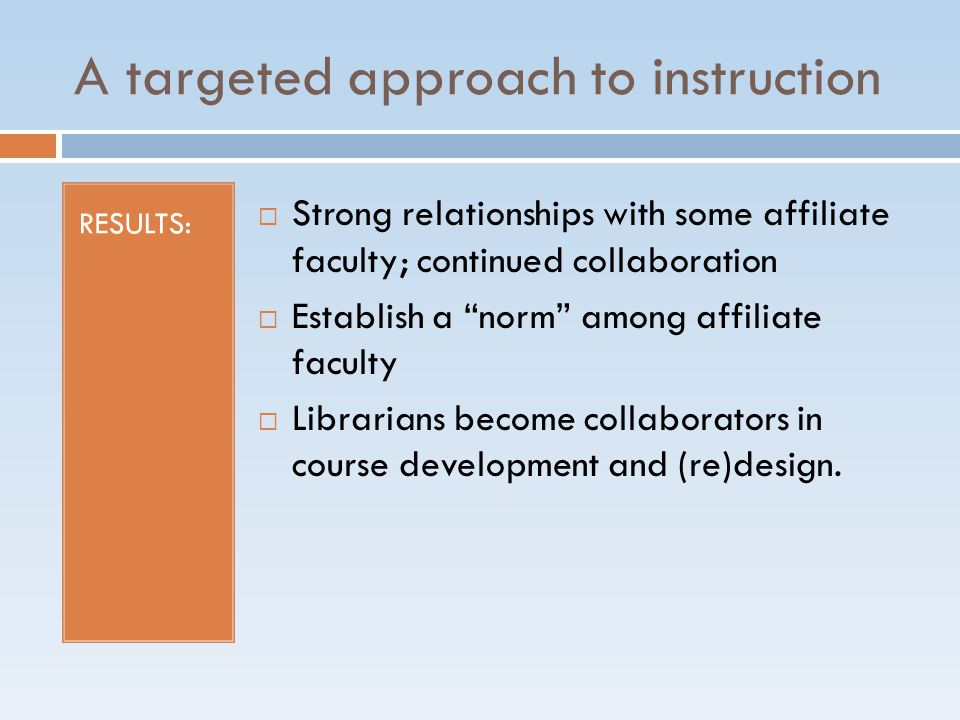A targeted approach to instruction ACTIONS: Identify courses that include a research component Solicit instructors via email Clearly defined areas of