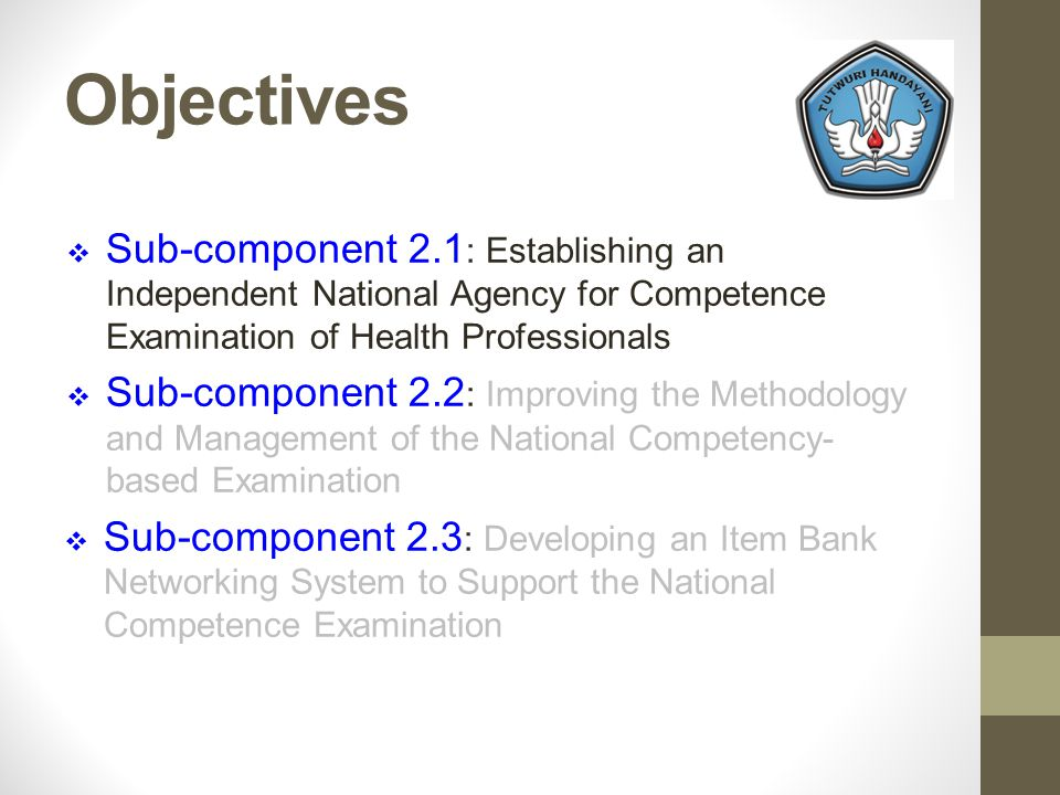 Objectives Sub-component 2.1 : Establishing an Independent National Agency for Competence Examination of Health Professionals Sub-component 2.2 : Improving the Methodology and Management of the National Competency- based Examination Sub-component 2.3 : Developing an Item Bank Networking System to Support the National Competence Examination