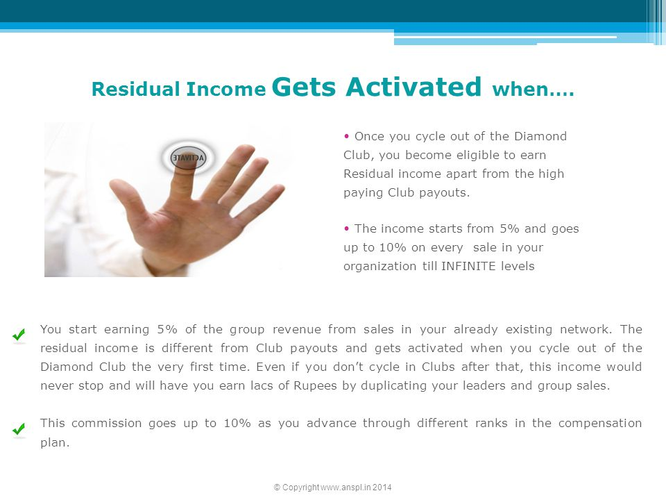 Residual Income Gets Activated when….