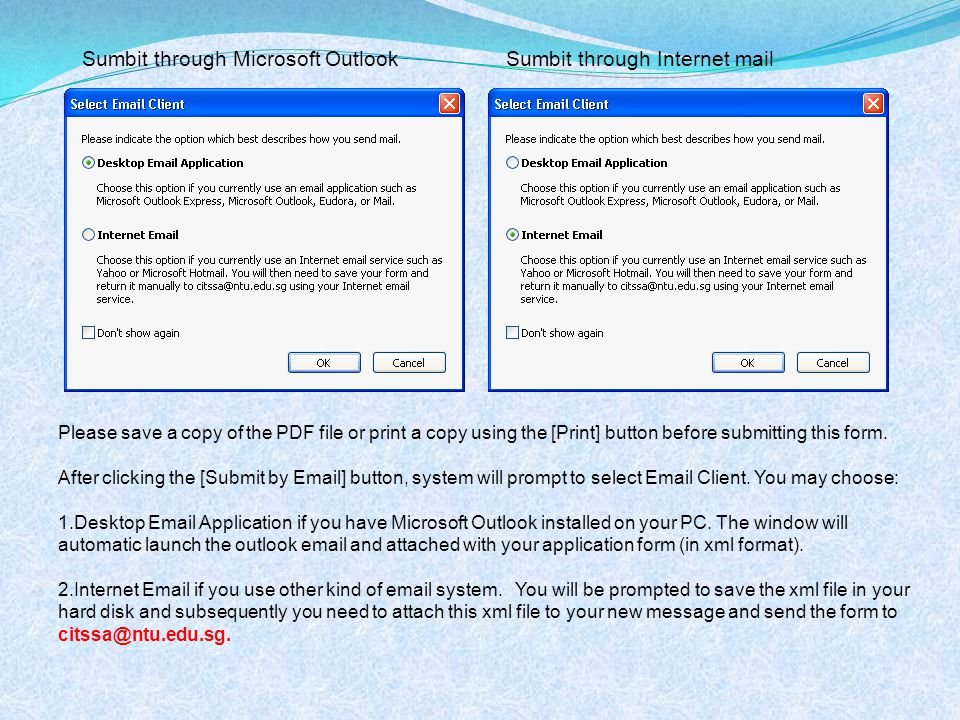 Sumbit through Microsoft OutlookSumbit through Internet mail Please save a copy of the PDF file or print a copy using the [Print] button before submitting this form.