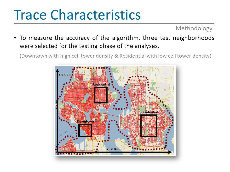 Trace Characteristics To measure the accuracy of the algorithm, three test neighborhoods were selected for the testing phase of the analyses. (Downtow