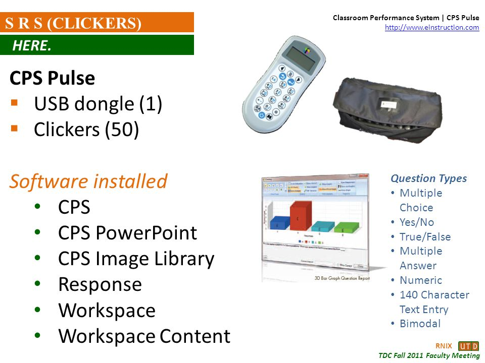 RNIX TDC Fall 2011 Faculty Meeting S R S (CLICKERS) CPS Pulse USB dongle (1) Clickers (50) Software installed CPS CPS PowerPoint CPS Image Library Res