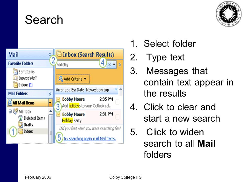 Search 1.Select folder 2. Type text 3.