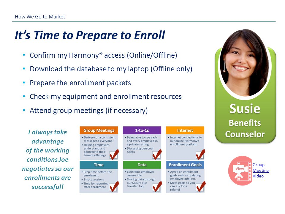 Its Time to Prepare to Enroll Confirm my Harmony® access (Online/Offline) Download the database to my laptop (Offline only) Prepare the enrollment pac