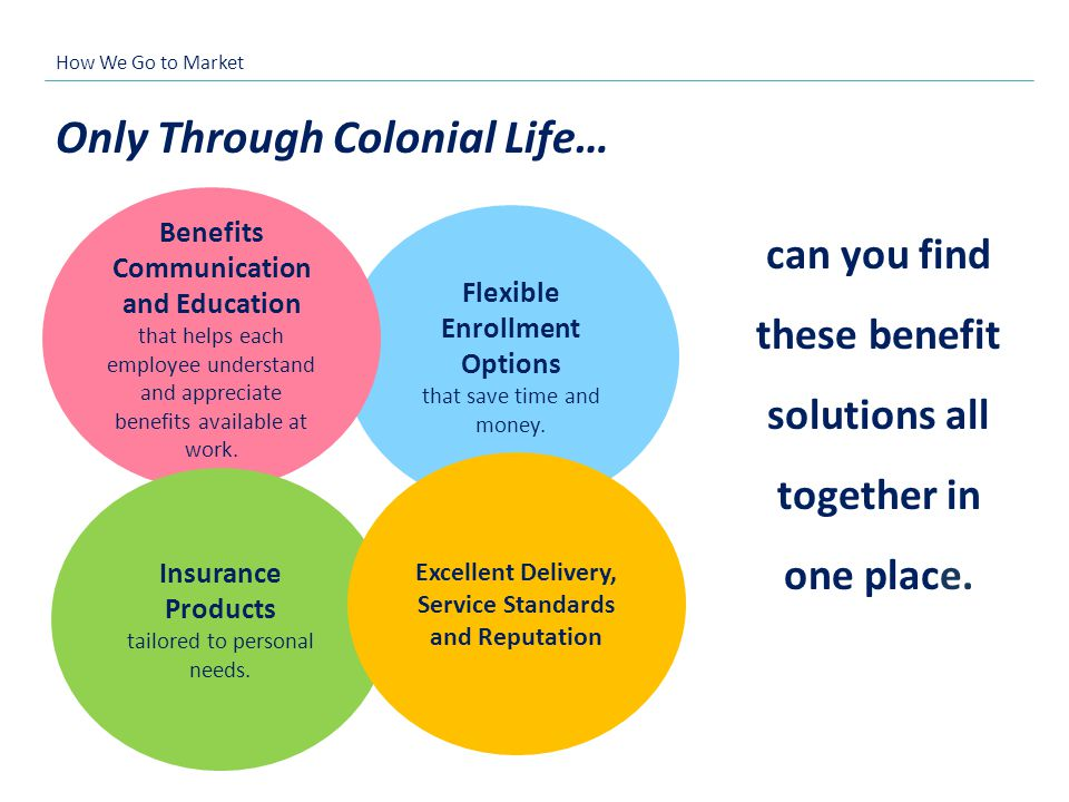 Flexible Enrollment Options that save time and money. Only Through Colonial Life… can you find these benefit solutions all together in one place. Bene
