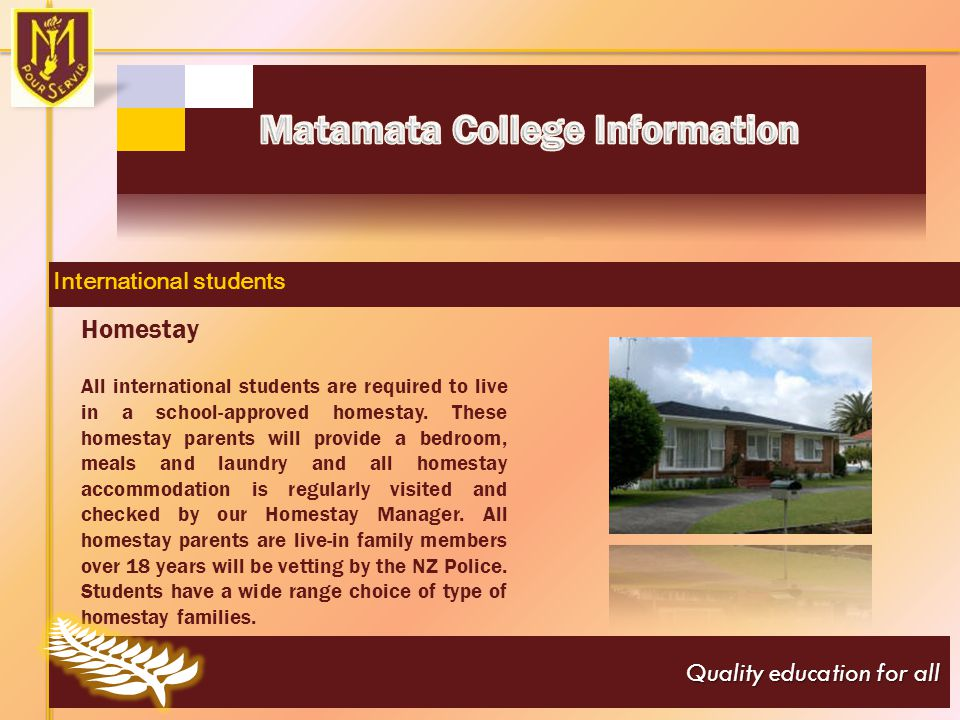 Quality education for all Website: www.matamatacollege.school.nz Email: office@matamatacollege.school.nz Telephone: +64-7-881-9018 Fax: +64-7-881-9008 Postal Address: Private Bag 4070 Firth Street, Matamata, 3440 New Zealand