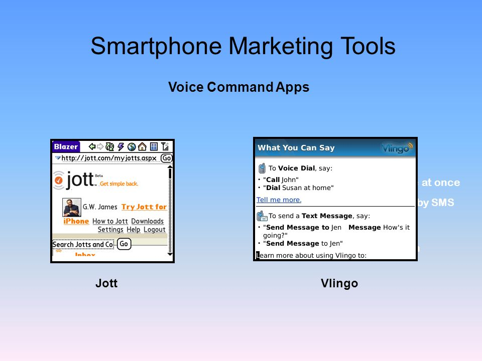 Use voice instead of text Send SMS text messages Create groups to message at once Send yourself Reminders by SMS Video Jotts Available Less than $4.00 per month Jott Smartphone Marketing Tools Vlingo Voice Command Apps