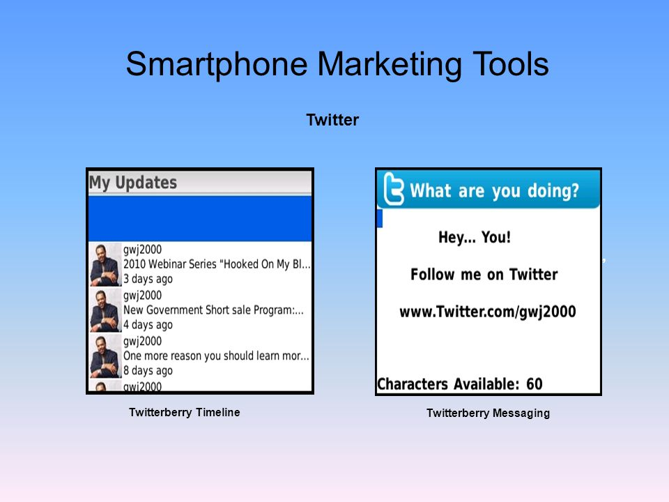 Twitter Update your daily activities Free service Connect with contacts easily A great way to keep contact Twitterberry Messaging Smartphone Marketing Tools Twitterberry Timeline