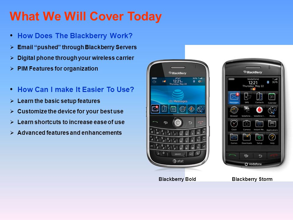 What We Will Cover Today How Does The Blackberry Work.