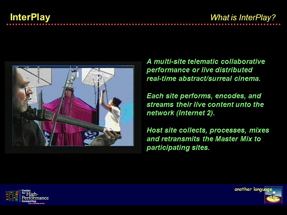 InterPlay A multi-site telematic collaborative performance or live distributed real-time abstract/surreal cinema.