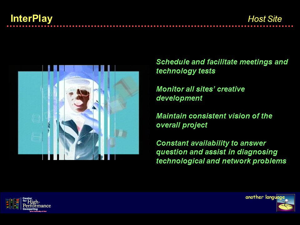 InterPlay Host Site Schedule and facilitate meetings and technology tests Monitor all sites creative development Maintain consistent vision of the overall project Constant availability to answer question and assist in diagnosing technological and network problems