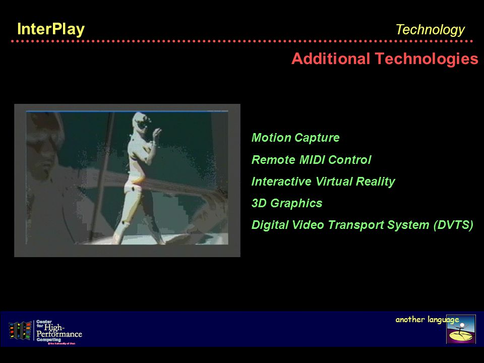 InterPlay Additional Technologies Technology another language Motion Capture Remote MIDI Control Interactive Virtual Reality 3D Graphics Digital Video Transport System (DVTS)
