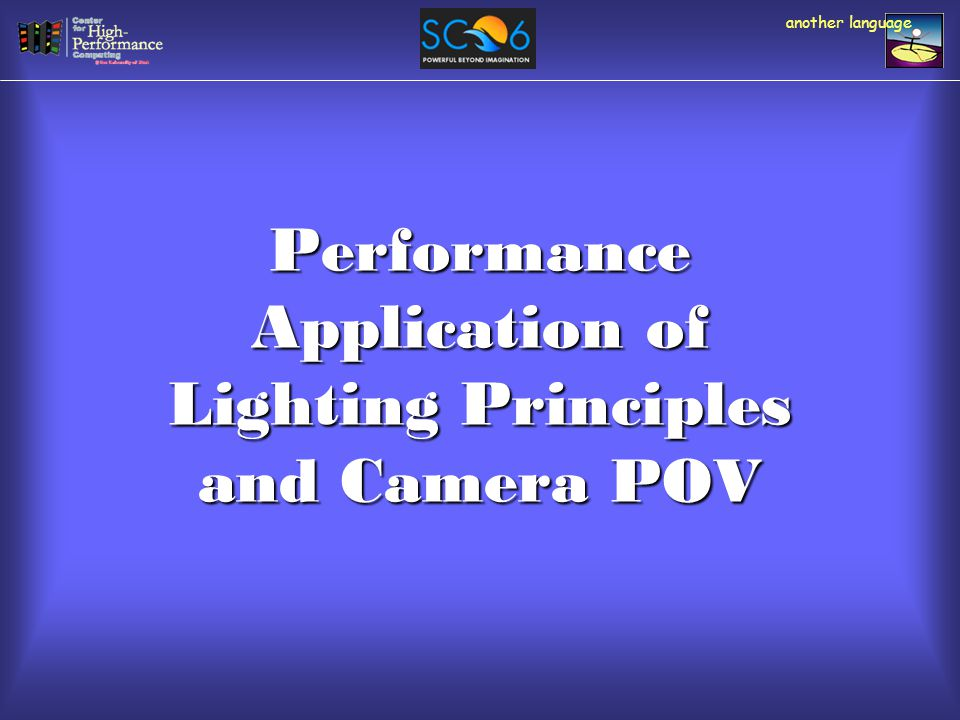 Performance Application of Lighting Principles and Camera POV another language