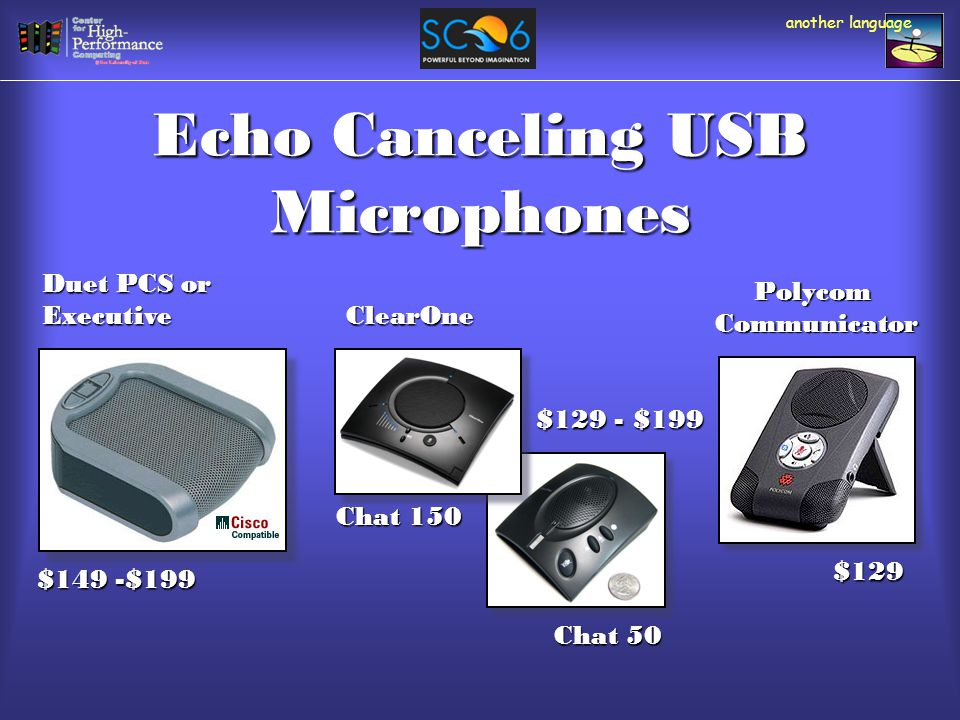 Echo Canceling USB Microphones another language $129 $149 -$199 Duet PCS or Executive PolycomCommunicator Chat 150 Chat 50 ClearOne $129 - $199