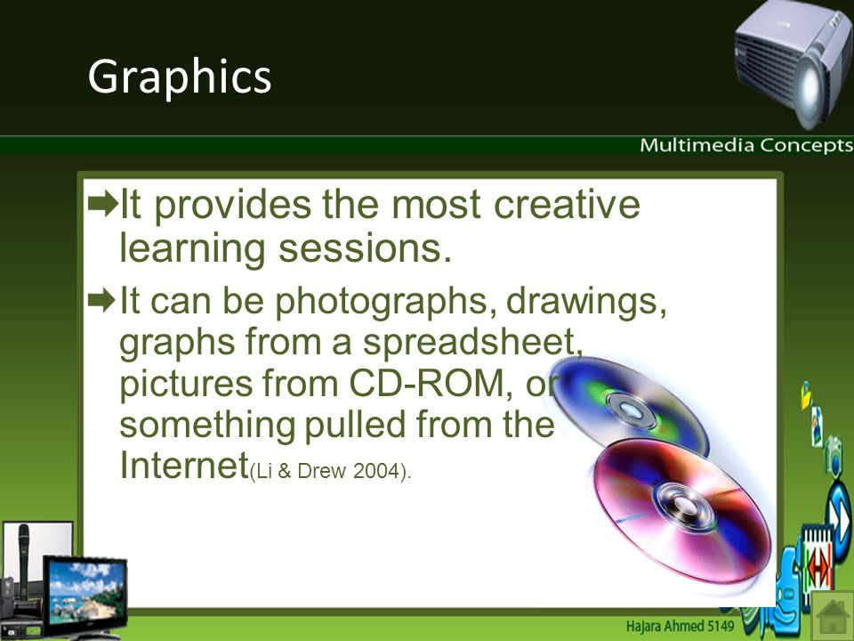 Graphics It provides the most creative learning sessions. It can be photographs, drawings, graphs from a spreadsheet, pictures from CD-ROM, or somethi