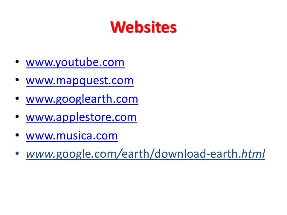 Websites www.youtube.com www.mapquest.com www.googlearth.com www.applestore.com www.musica.com www.google.com/earth/download-earth.html