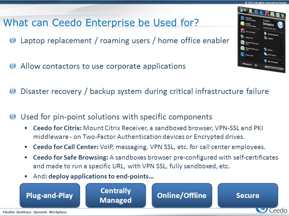 © 2012 All rights reserved to Ceedo. Flexible Desktops. Dynamic Workplace. Laptop replacement / roaming users / home office enabler Allow contactors t
