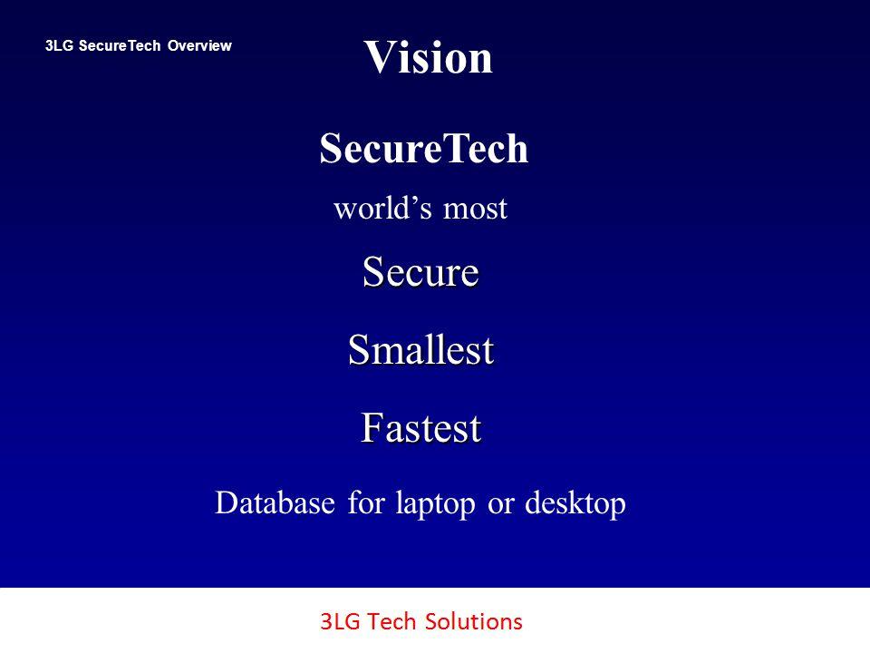 3LG SecureTech 2 Vision 3LG SecureTech Overview Copyright SecureTech2, Inc., 2011 worlds mostSecureSmallestFastest Database for laptop or desktop SecureTech