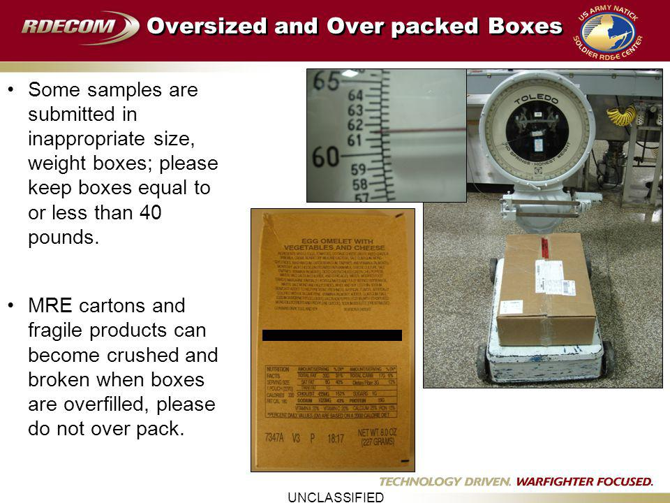 UNCLASSIFIED Oversized and Over packed Boxes Some samples are submitted in inappropriate size, weight boxes; please keep boxes equal to or less than 40 pounds.