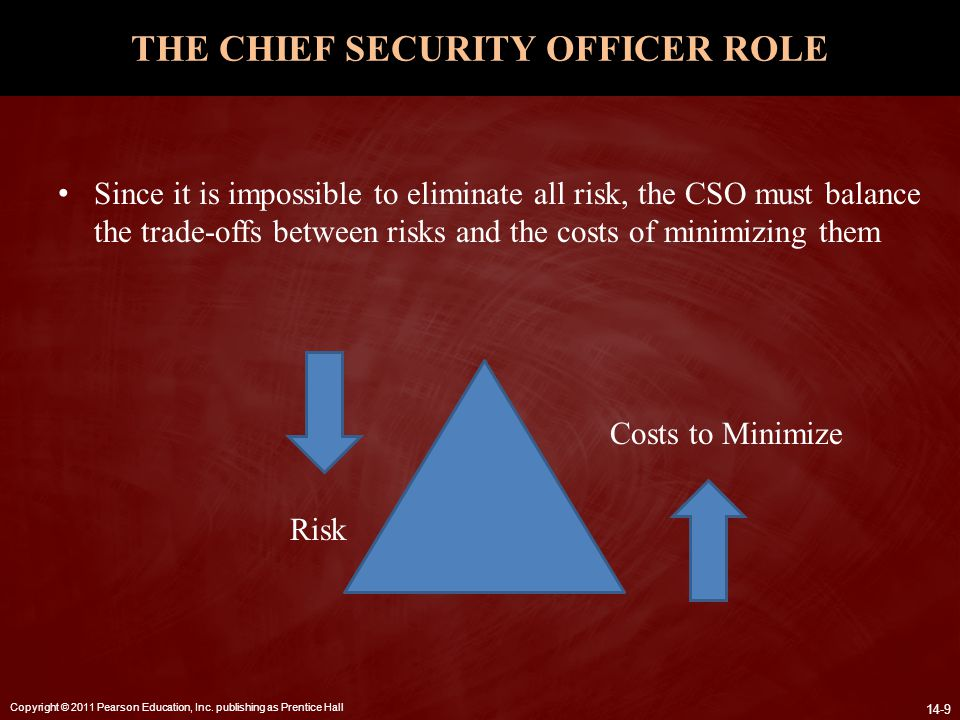 Copyright © 2011 Pearson Education, Inc. publishing as Prentice Hall 14-9 THE CHIEF SECURITY OFFICER ROLE Since it is impossible to eliminate all risk